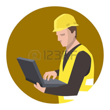 450x450 Construction Worker Engineer Using Laptop Computer Royalty Free
