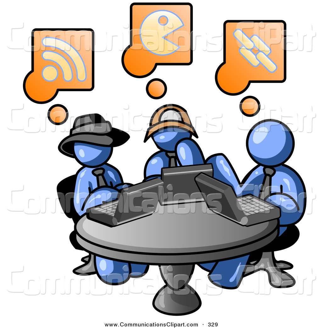 1024x1044 Communication Clipart Of A Trio Of Blue Men Using Laptops In