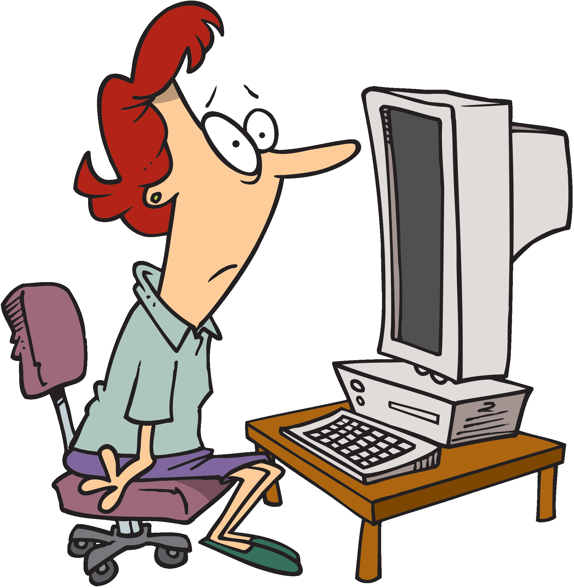 2000x2051 Person At Computer Cartoon