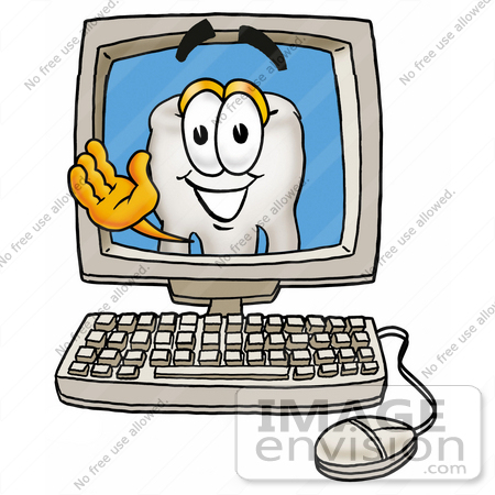 450x450 Clip Art Graphic Of A Human Molar Tooth Character Waving