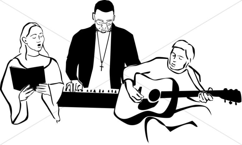 776x465 Black And White Worship Band Worship Clipart