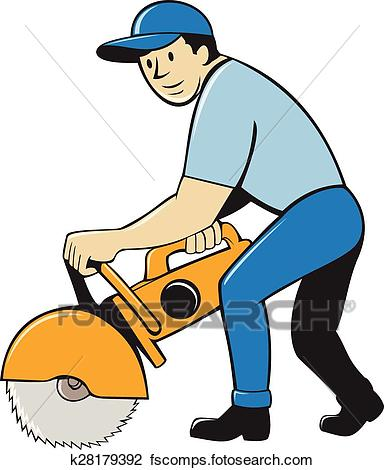 384x470 Clipart Of Construction Worker Concrete Saw Cutter Isolated