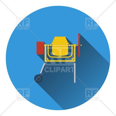400x400 Icon Of Concrete Mixer. Flat Design. Royalty Free Vector Clip Art