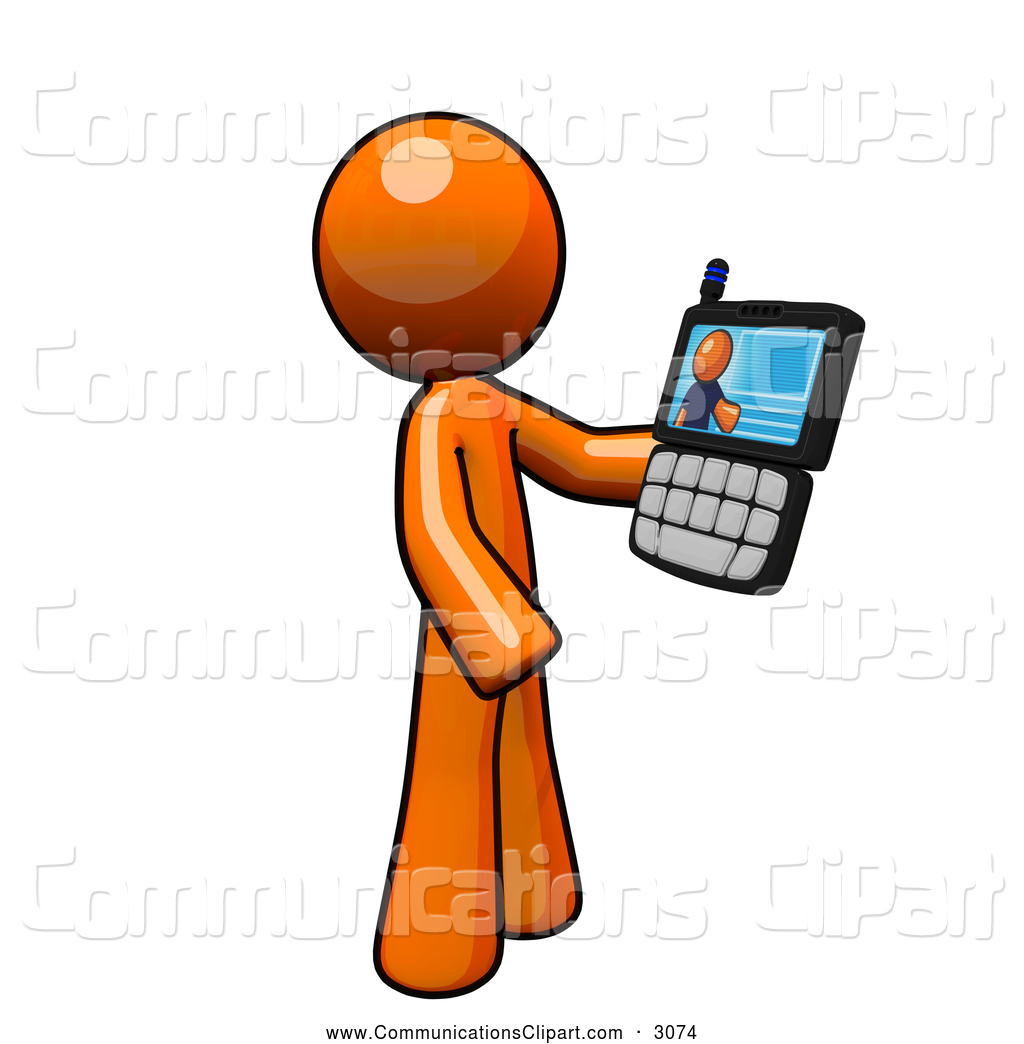 1024x1044 Communication Clipart Of An Orange Man Having A Video Conference