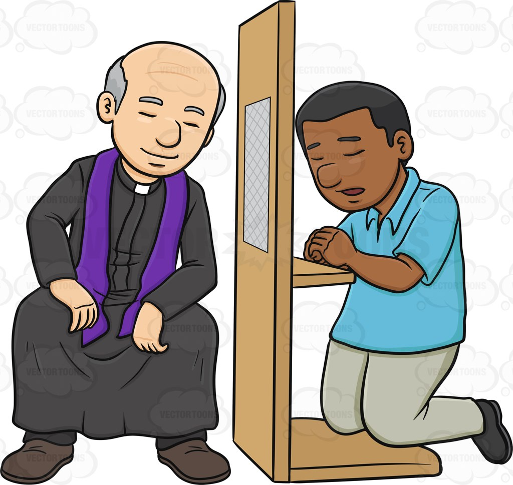 1024x969 A Black Man Confessing To A Priest And Asking Penance Cartoon