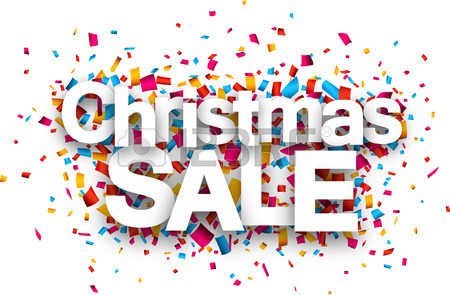 450x295 Christmas Sale Paper Sign Over Confetti. Vector Illustration