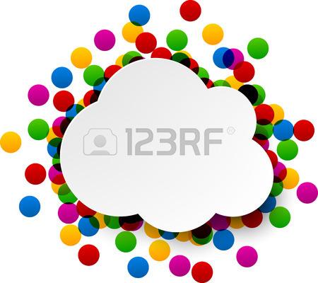 450x400 Colorful Celebration Background. Paper Speech Bubble With Confetti