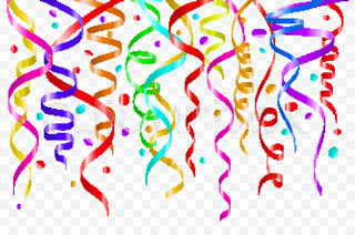 320x212 Background With Party Streamers And Confetti, Vector Illustration