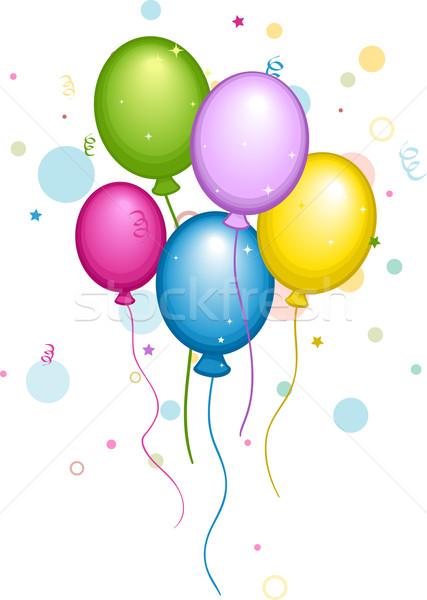 427x600 Balloons And Confetti Vector Illustration Lenm ( 945005