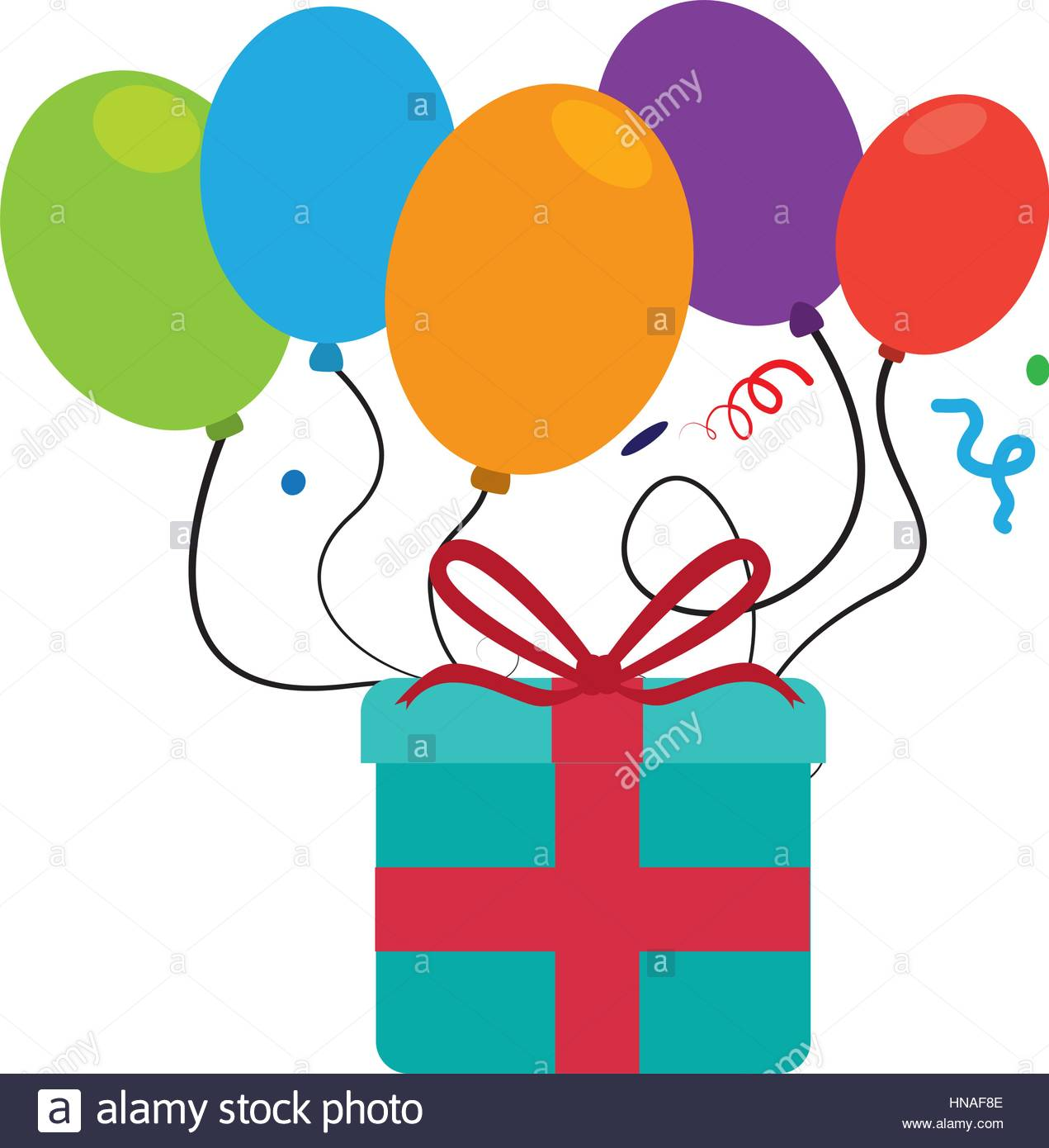 1271x1390 Colorful Picture Gift Box And Balloons With Confetti Vector Stock
