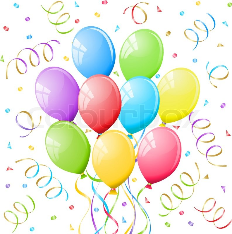 793x800 Balloons And Confetti. Stock Vector Colourbox