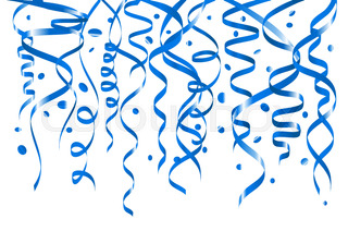 320x212 Birthday White Background With Curling Streamers And Confetti