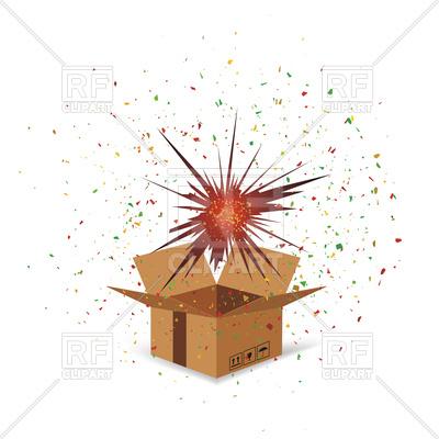 400x400 Cardboard Box And Confetti Vector Clipart Image