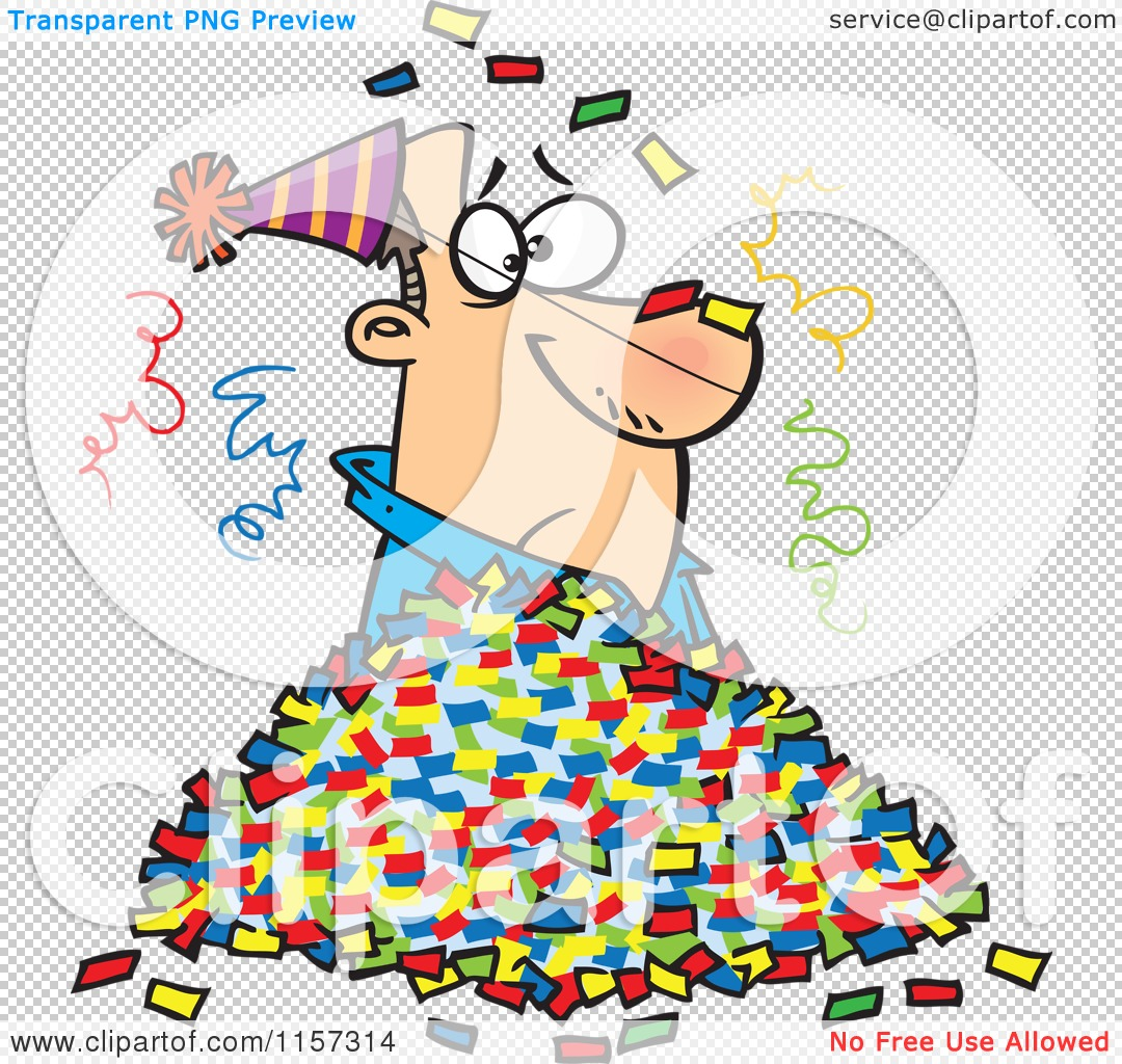 1080x1024 Cartoon Of A Man In A Pile Of Party Confetti