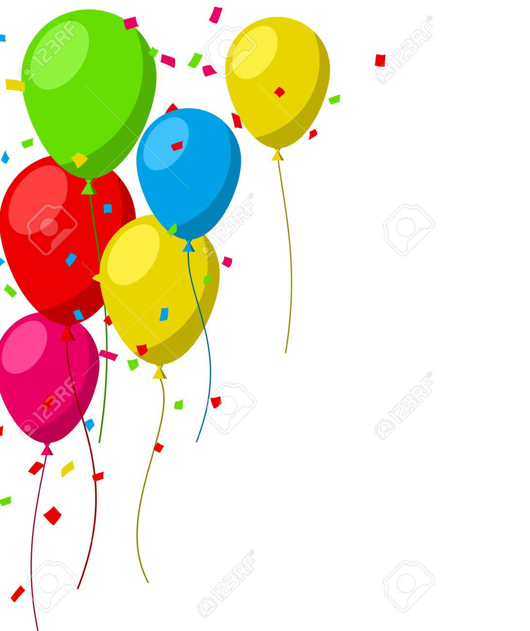1091x1300 Celebration Background With Flat Balloons And Confetti. Vector