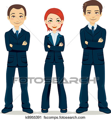 434x470 Clipart Of Confident Business Team K8955391