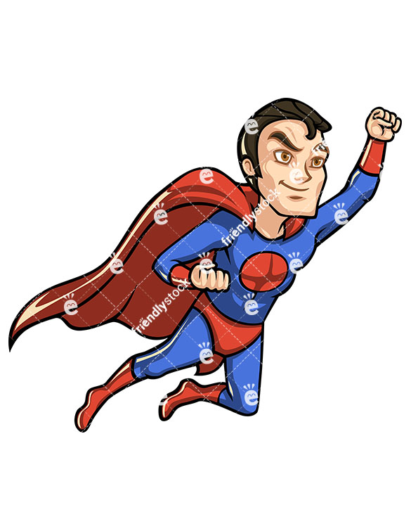 585x755 Superhero With Cape Flying Like Superman Cartoon Clipart