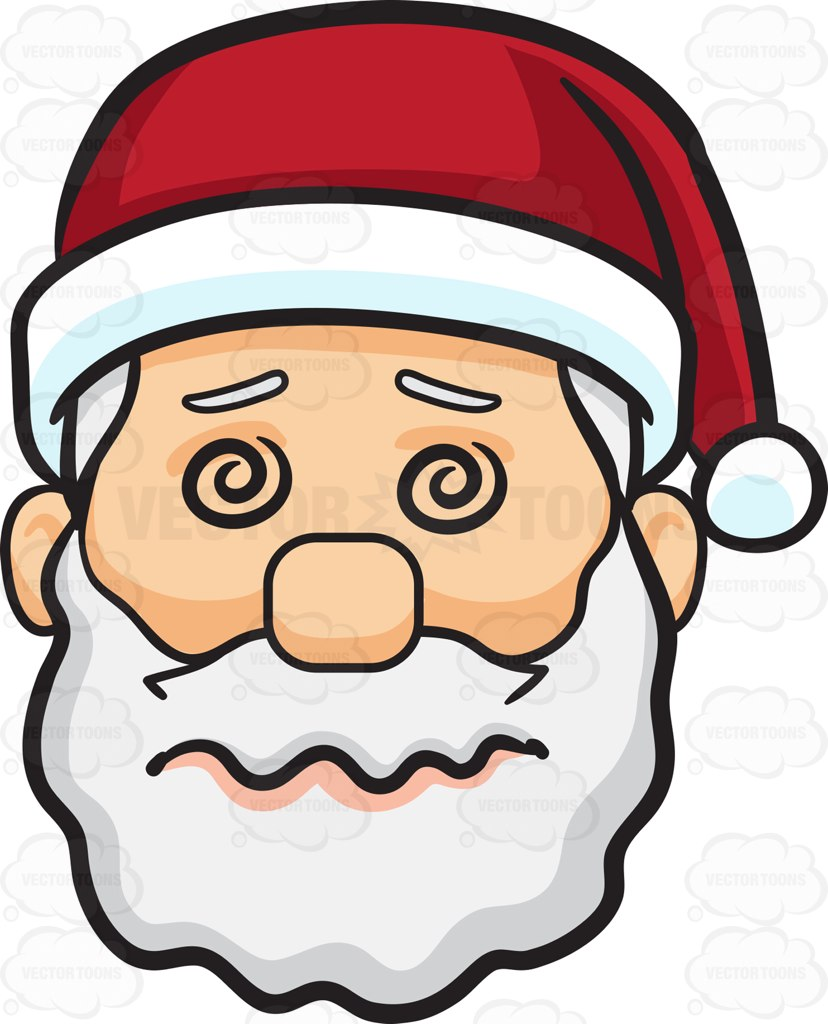 828x1024 A Dazed And Confused Face Of Santa Claus Cartoon Clipart