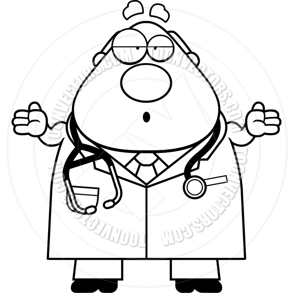 940x940 Cartoon Doctor Man Confused (Black And White Line Art) By Cory