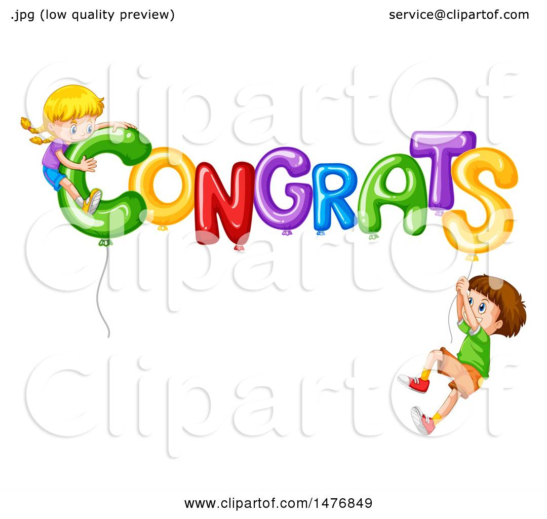 1080x1024 Clipart Of Children With Congrats Balloons