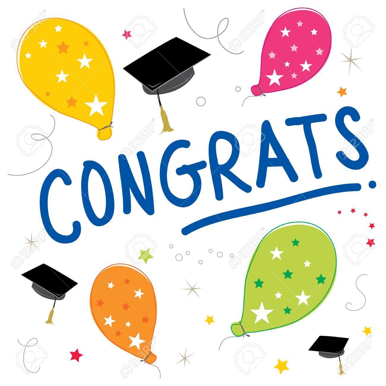 1300x1300 Congrats Text Balloon Color Graduate Vector Design Royalty Free