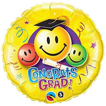 355x355 Congrats Grad Smiley Faces Diploma 18 Balloon