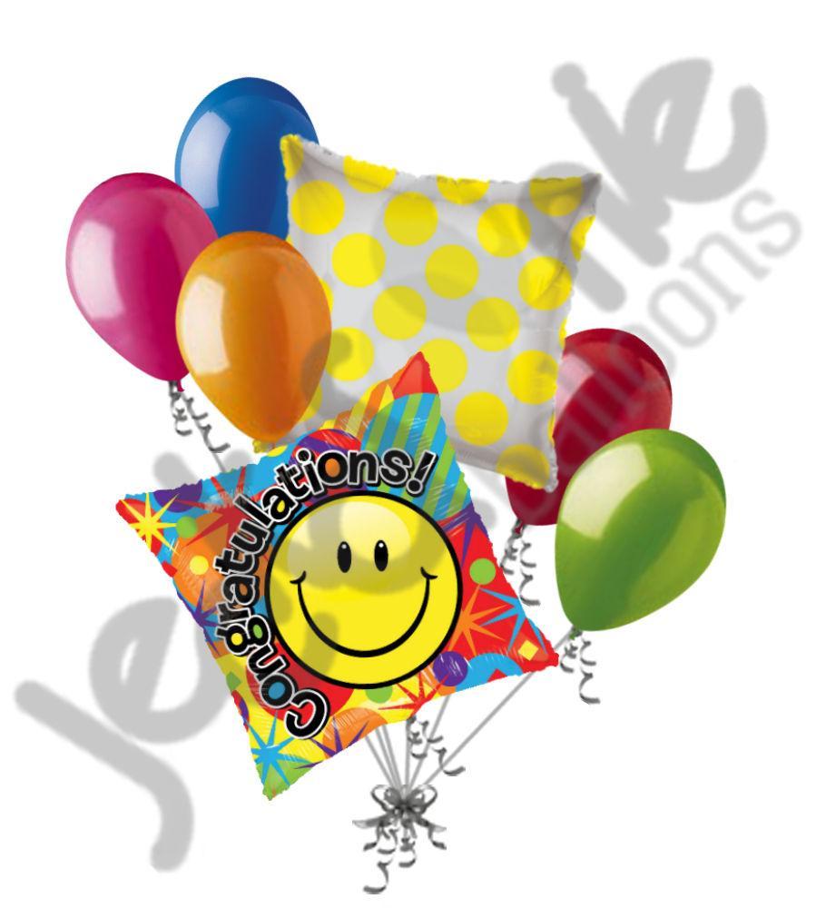 910x1000 Colorful Smiley Congratulations Balloon Bouquet Jeckaroonie Balloons