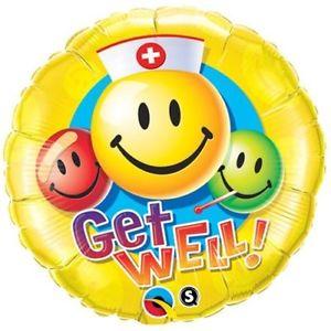 300x300 Qualatex Congrats Grad Smiley Faces Round 18 Foil Balloon Yellow