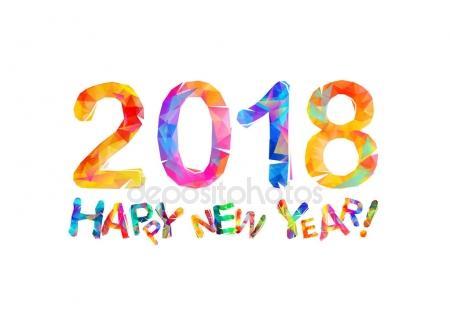 450x327 Congratulation Card. Happy New Year 2018 Stock Vector Ukususha
