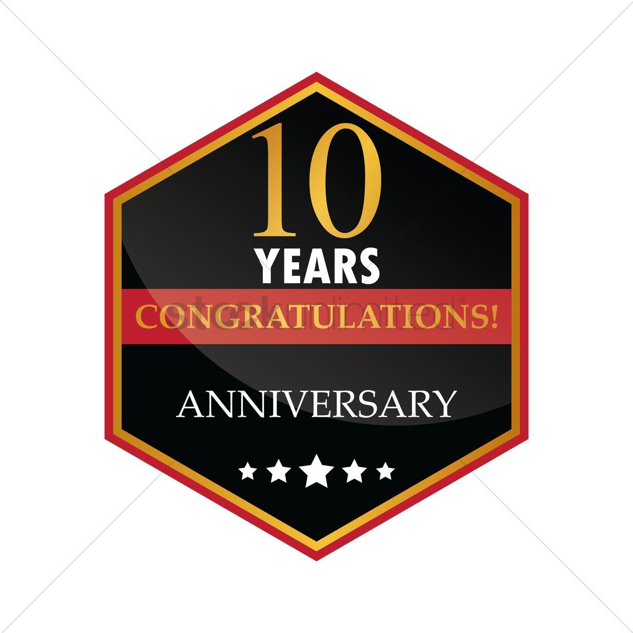 1300x1300 Congratulations 10 Years Anniversary Label Vector Image