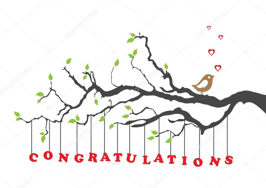 1024x724 Congratulations Greeting Card With Bird Stock Vector Lina S