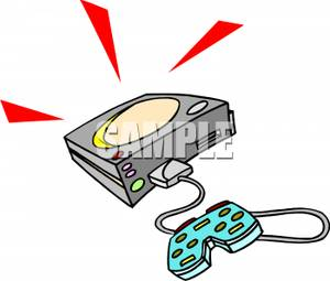 300x255 Controller Connected To A Video Game Console Clipart Picture