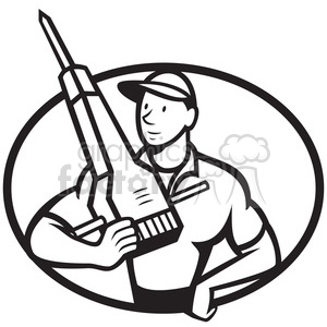 300x300 Royalty Free Black And White Construction Worker Jackhammer Front