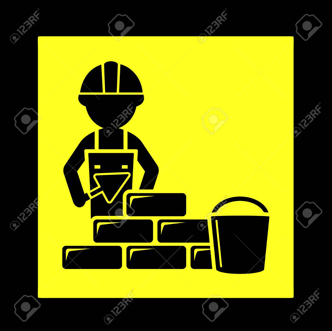 1300x1297 Yellow Construction Icon With Builder Laying Brick Wall Royalty