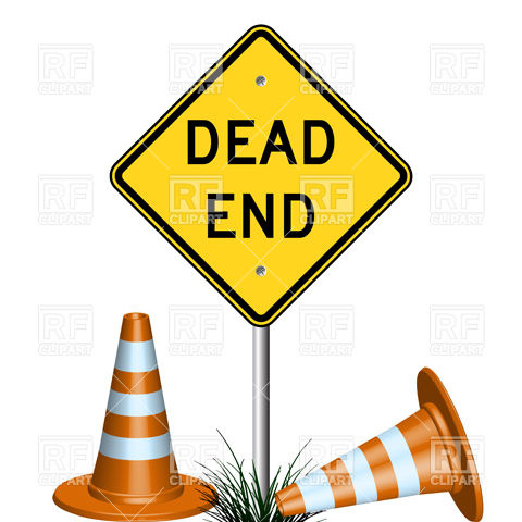 480x480 Dead End Sign With Traffic Cones And Grass Royalty Free Vector