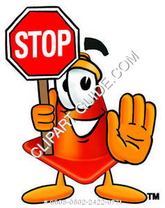 237x300 Clipart Cartoon Construction Cone Holding A Stop Sign