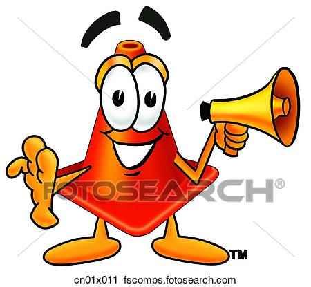450x415 Clipart Of Construction Safety Cone With Megaphone Cn01x011