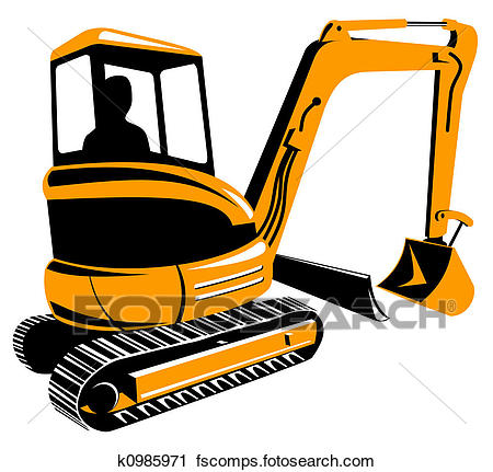 450x431 Clipart Of Mechanical Digger K0985971