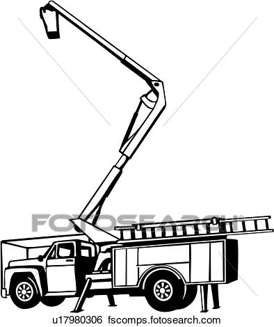 394x470 Clip Art Of , Heavy Equipment, Cherry Picker, Construction, Trade