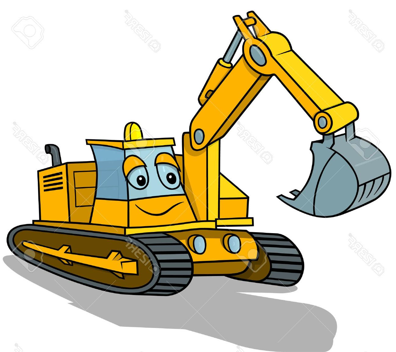 1300x1155 Top Smiling Excavator Cartoon Illustration Vector Stock File Free