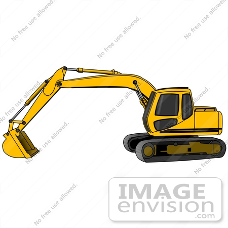 450x450 Yellow Trackhoe Tractor Working At A Construction Site Clipart