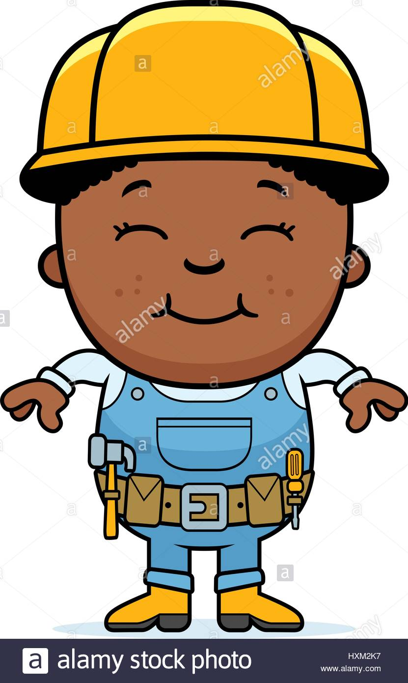 831x1390 A Cartoon Illustration Of A Boy Construction Worker Standing