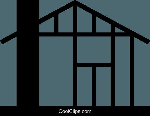 480x372 House Under Construction Royalty Free Vector Clip Art Illustration