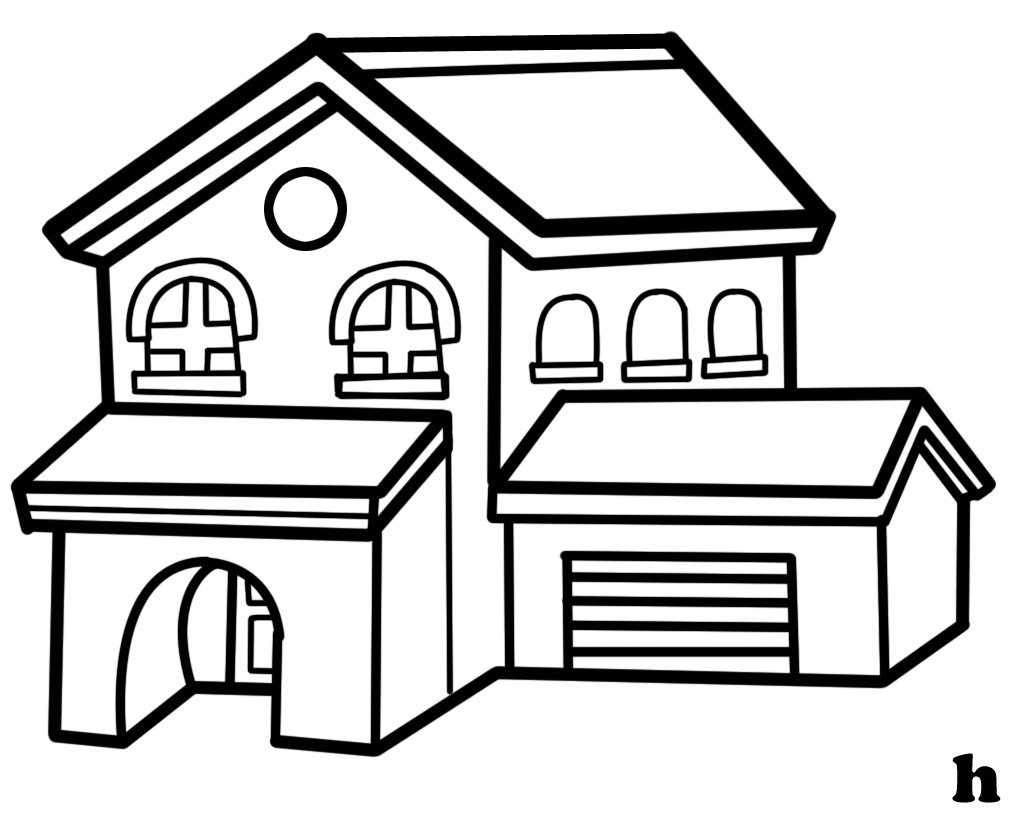 1024x813 My House Clipart Black And White