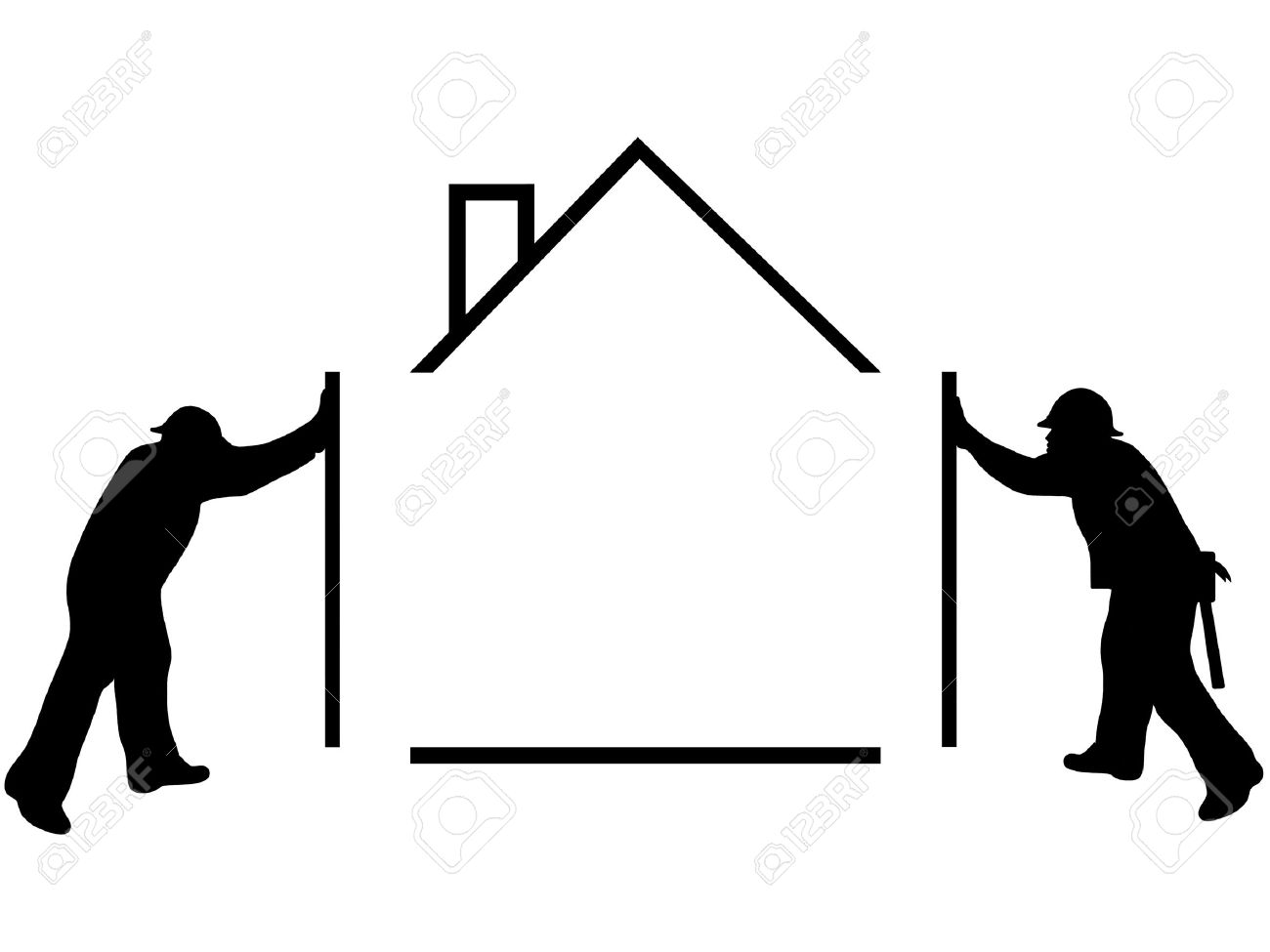 1300x975 People Building A House Clipart