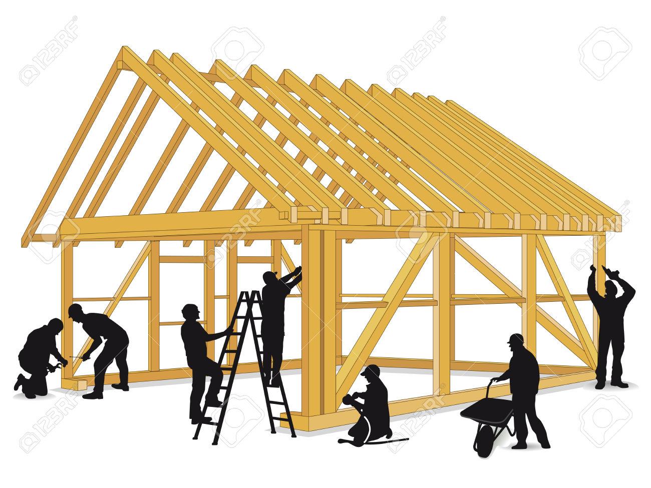 1300x975 Building A Wooden House Construction Worker Clipart, Explore Pictures