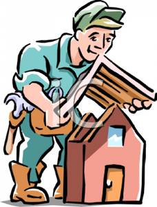 228x300 Cartoon Of A Man Putting A Roof On A Model Of A House
