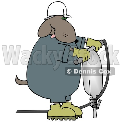 400x400 Clipart Illustration Of A White Man In A Hardhat And Ear Muffs