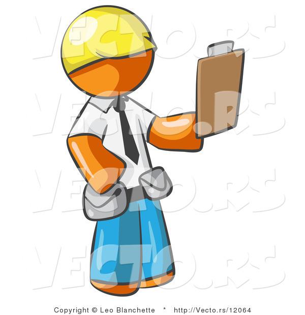 600x620 Vector Of Orange Guy Construction Site Supervisor Holding