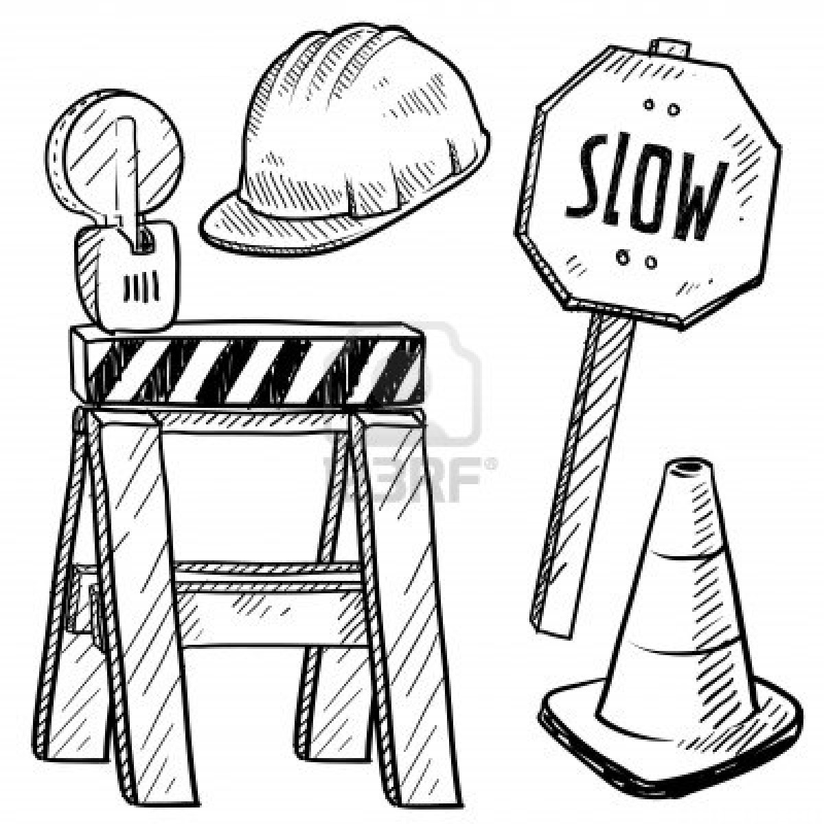 1200x1200 Construction Sign Coloring Page